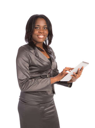 Young Black Businesswoman Cheerful Holding Touch Pad on Isolated White Background photo