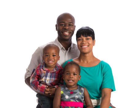 formal portrait: Portrait of Happy Smiling African American Family Isolated on White Background Stock Photo
