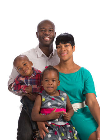 black family: Portrait of Happy Smiling African American Family Isolated on White Background Stock Photo