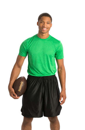 Happy African American College Student Holding Football on Isolated White Background Stock Photo - 22221477