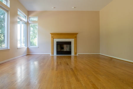 Empty Family Room with Fireplace Hardwood Floor Blank Wall Residential Home Interior