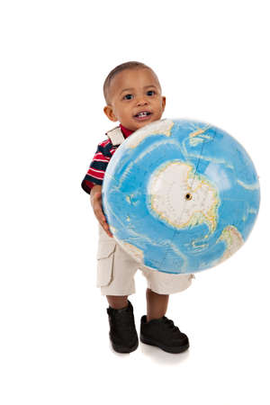 baby open present: Smiling 1-year old baby boy standing Full Body Length Portrait holding globe on isolated background Stock Photo