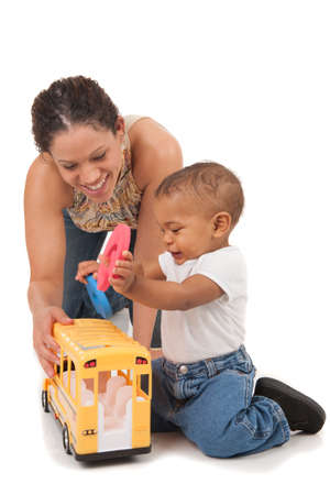 African American Mother Play with Baby Boy on Isolated White Background photo