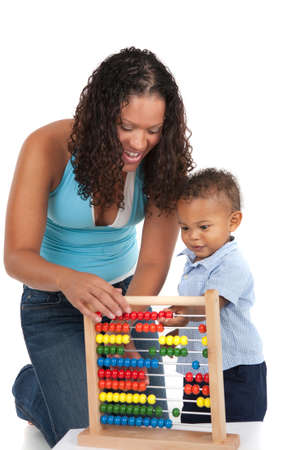 Adorable One Year Old African American Boy Playing Wooden Abacus with Mom Isolated photo