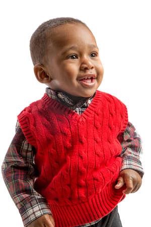 garcon africain: Un an Old Adorable African American Boy permanent Portrait sur fond blanc isolé Banque d'images