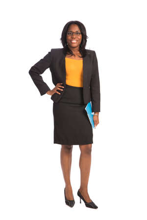 Young African American Businesswoman Holding Folders on Isolated White Background photo