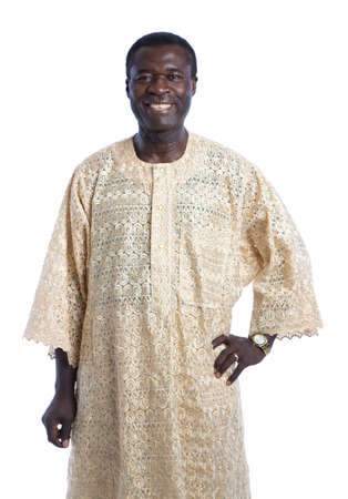 traditional culture: Mid Age African American Man with Traditional Costume Closeup Happy Portrait Isolated on White Background
