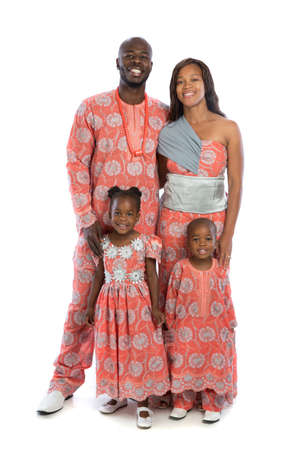 Portrait of Happy Smiling African American Family Wearing Traditional Costume Isolated on White Background photo