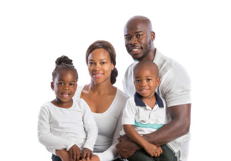 Portrait of Happy Smiling African American Family Isolated on White Background Stock Photo