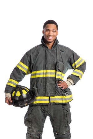fireman: African American  firefighter standing portrait isolated on white background