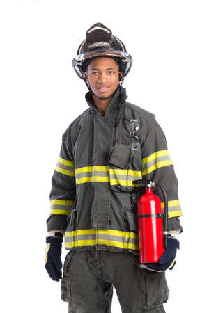 fire show: Young African American Firefighter  holding fire extinguisher on isolated white background