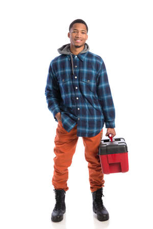 Smiling Young African American  Worker Holding Toolbox Isolated on White Background photo