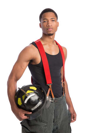 duty: African American Firefighter Off Duty Standing portrait isolated on white Background