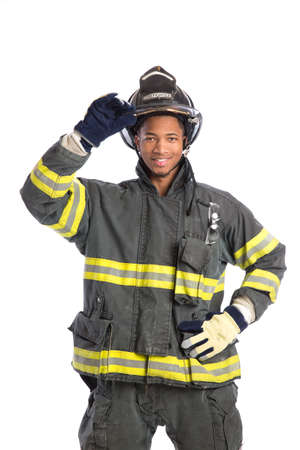 African American  firefighter standing portrait isolated on white background photo