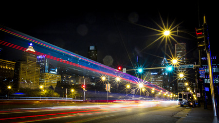 Light Trails on Michigan Avenue, Chicago Downtown Busy Business District, Night Scene