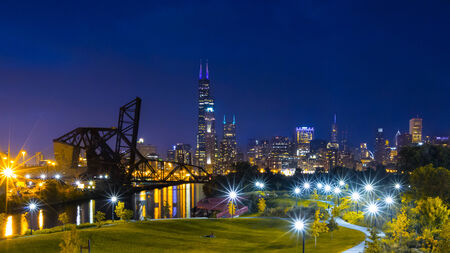 Chicago Downtown Skyline Night Scene View from south side of the city with Sears Willis Towner and john hancock Tower on the background, blue hour long exposure photo