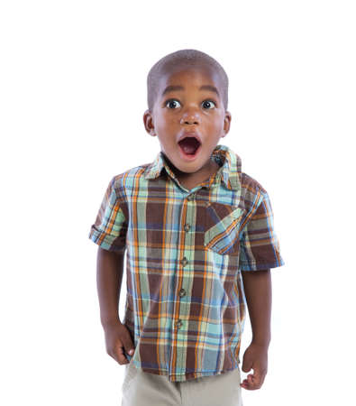 suprise: 2 year old african american boy suprise expression sstanding wear casual outfit isolated on white background