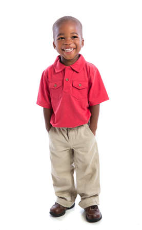 2 year old african american baby boy  standing wearing t-shirt and dress pants  isolated on white background photo