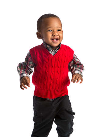 One Year Old Adorable African American Boy Running on Isolated White Background photo