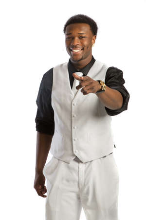 Young African American Business Man Hand Gesture, Wear Formal Dress, White Tie Smiling Isolated on White Background photo