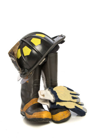 protective: Heavy Duty Protective Fire Fighting Cloth, Boots, Gloves, Helmet, Isolated on White Background