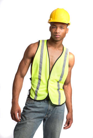 expressing: Smiling Young African American  Construction Worker Standing Portrait Isolated