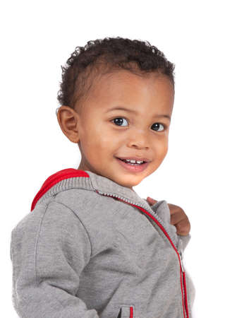 Two Years Old Adorable African American Boy Wearing Sweater Portrait on Isolated White Background photo