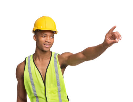 Natural Looking Worried Young African American Construction Worker Gesture Directing Traffic on Isolated Background photo