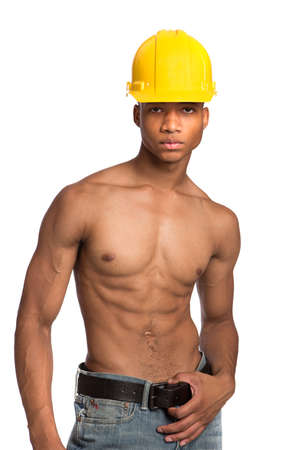 Sexy Shirtless Young African American Male Model Natural Looking on Grey Background Wearing Hardhat photo