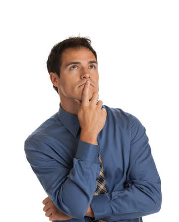 Young Businessman Standing Thoughtful Gesture on Isolate White Background photo