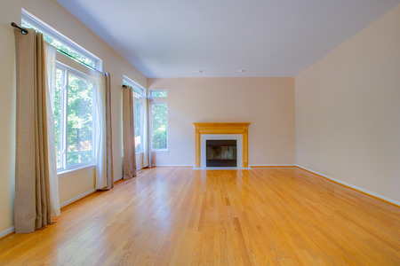 Empty Family Room with Fireplace Hardwood Floor Blank Wall Residential Home Interior photo