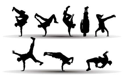 ilustración vectorial de la danza como siluetas personas
