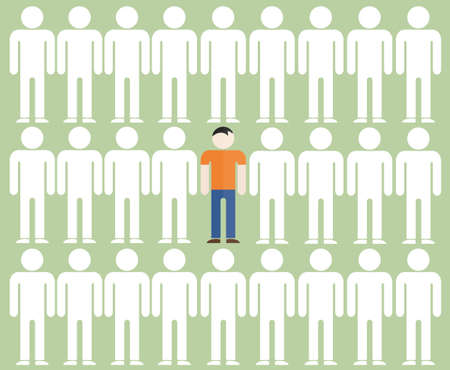 uniqueness: illustration of the individuality of one man among the gray mass