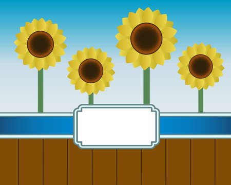 oil crops: illustration of the coming of summer and blooming sunflowers using banner