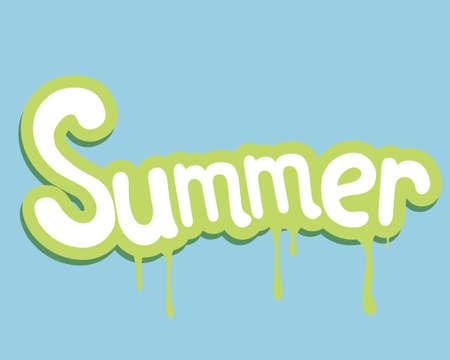 slogan: lema verano, y al mismo tiempo pegatina fondo verde Vectores