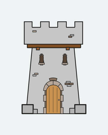 castle door: icon castle tower with a door and Windows in the medieval style Illustration