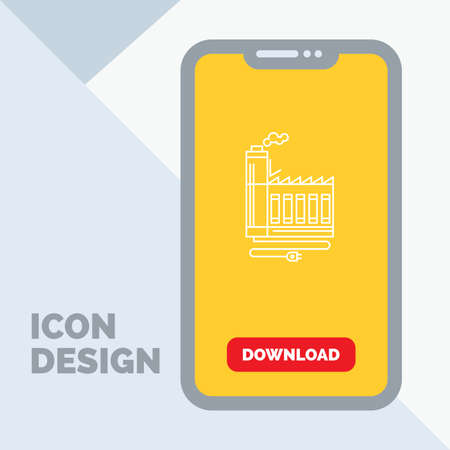 Consumption, resource, energy, factory, manufacturing Line Icon in Mobile for Download Page