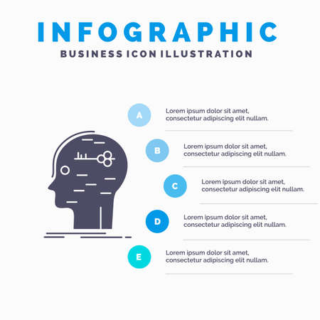 brain, hack, hacking, key, mind Infographics Template for Website and Presentation. GLyph Gray icon with Blue infographic style vector illustration.