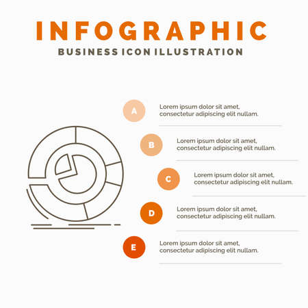 Analysis, analytics, business, diagram, pie chart Infographics Template for Website and Presentation. Line Gray icon with Orange infographic style vector illustration