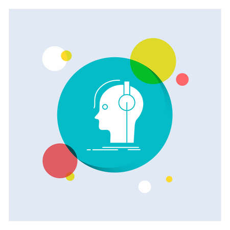 composer, headphones, musician, producer, sound White Glyph Icon colorful Circle Background