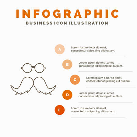 moustache, Hipster, movember, male, men Infographics Template for Website and Presentation. Line Gray icon with Orange infographic style vector illustration