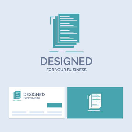 Code, coding, compile, files, list Business Logo Glyph Icon Symbol for your business. Turquoise Business Cards with Brand logo template.