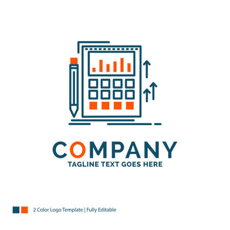 Accounting, audit, banking, calculation, calculator Logo Design. Blue and Orange Brand Name Design. Place for Tagline. Business Logo template.