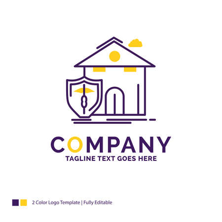 Company Name Logo Design For insurance, home, house, casualty, protection. Purple and yellow Brand Name Design with place for Tagline. Creative Logo template for Small and Large Business.