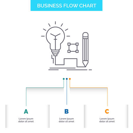 Idea, insight, key, lamp, lightbulb Business Flow Chart Design with 3 Steps. Line Icon For Presentation Background Template Place for text