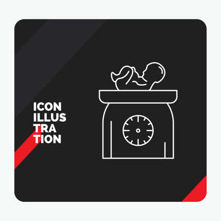 Red and Black Creative presentation Background for weight, baby, New born, scales, kid Line Icon  イラスト・ベクター素材