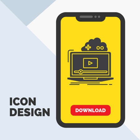 Cloud, game, online, streaming, video Glyph Icon in Mobile for Download Page. Yellow Background