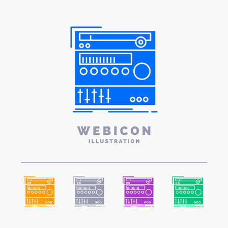 rack, component, module, sound, studio 5 Color Glyph Web Icon Template isolated on white. Vector illustration