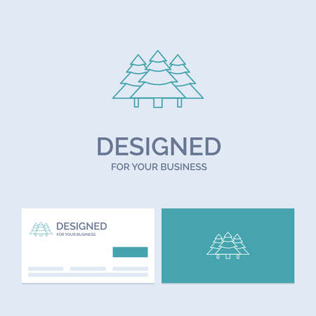 forest, camping, jungle, tree, pines Business Logo Line Icon Symbol for your business. Turquoise Business Cards with Brand logo template