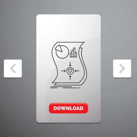 Estimation, love, relationship, response, responsive Line Icon in Carousal Pagination Slider Design & Red Download Button